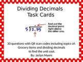Dividing Decimals Task Cards with QR Codes