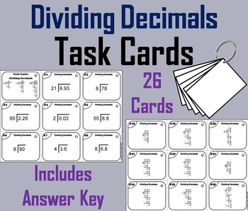 4th Grade Dividing Decimals Task Cards/ 5th Grade Dividing
