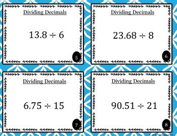 Dividing Decimals Task Cards / Scoot Cards -5.NBT.B.7