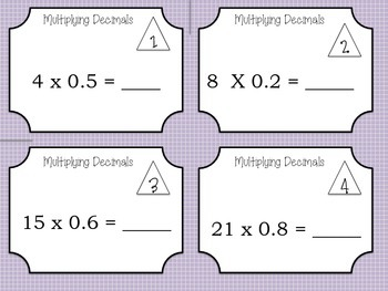 Multiply and Divide Decimals -Task Cards and Bingo!