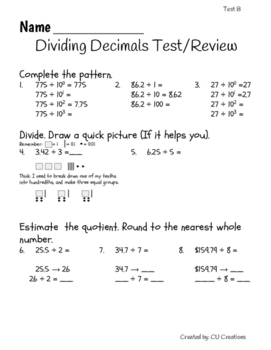 Dividing Decimals Test/Review with Answer Key