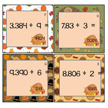 Dividing Decimals Thanksgiving Scavenger Hunt