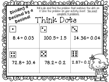 Dividing Decimals Think Dots