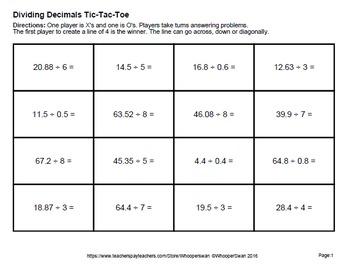 Dividing Decimals Tic-Tac-Toe