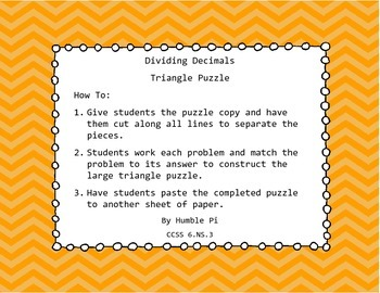 Dividing Decimals Triangle Puzzle- 6.NS.3