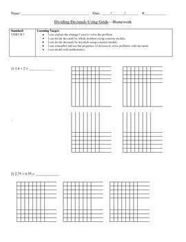Dividing Decimals Using Grids