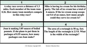 Dividing Decimals Word Problem Task Cards