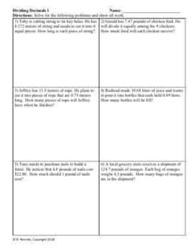 Dividing Decimals Word Problems (3 worksheets)