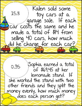 Dividing Decimals Word Problems - Math Scavenger Quest