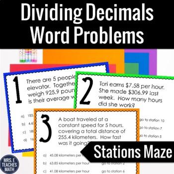Dividing Decimals Word Problems Stations Maze