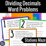 Dividing Decimals Word Problems Stations Maze  6.NS.3