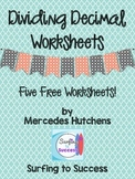 Dividing Decimals Worksheets