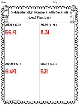 Dividing whole Numbers by Decimals Worksheet