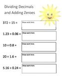 Dividing Decimals and Adding Zeroes