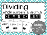 Dividing Decimals and Whole Numbers Scavenger Hunt TEKS 5.3G CCSS 5.NBT.7