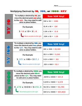 Dividing Decimals by 10, 100, and 1000  (5.NBT.A.2)