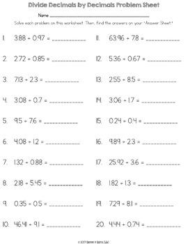 Dividing Decimals by Decimals {5.NBT.7} Math Logic Puzzle