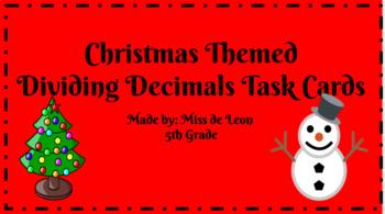 "Dividing Decimals by Decimals QR Task Cards *Christmas Themed"""