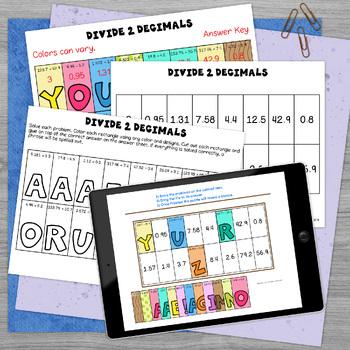 Dividing Decimals by Decimals Solve, Color, Cut