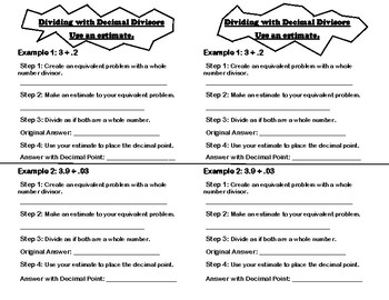Dividing Decimals by Decimals Strategy