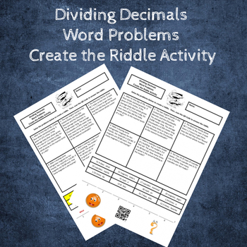 Dividing Decimals Word Problems Create the Riddle Activity