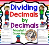 Dividing Decimals by Decimals Word Problems Worksheet with Answer KEY