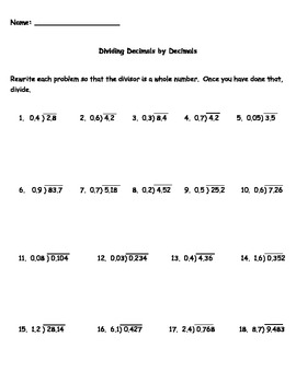 Dividing Decimals by Decimals Worksheet