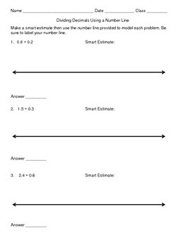 Dividing Decimals by Decimals (tenths) Using Number Lines