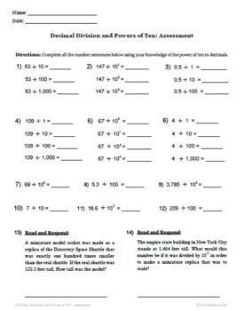 Decimal Division by Powers of Ten - Printable Packet