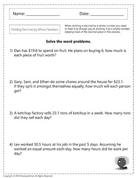 4.OA.2 - Dividing Decimals by Whole Numbers Worksheets
