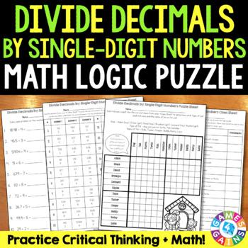 Dividing Decimals by Whole Numbers {5.NBT.7} Math Logic Puzzle