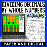 Dividing Decimals by Whole Numbers Activity Pack Bundle 6.NS.B.3
