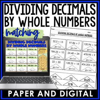 Dividing Decimals by Whole Numbers Cut and Paste