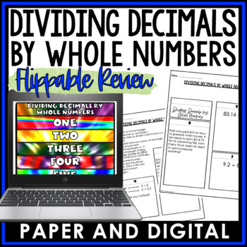 Dividing Decimals by Whole Numbers Flippable Review 6.NS.B.3