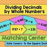 Dividing Decimals by Whole Numbers Matching