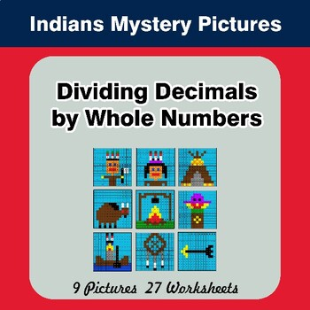 Dividing Decimals by Whole Numbers - Math Mystery Pictures - Indians