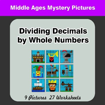 Dividing Decimals by Whole Numbers - Math Mystery Pictures - Middle Ages