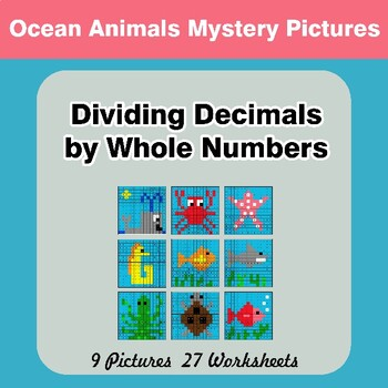 Dividing Decimals by Whole Numbers - Math Mystery Pictures - Ocean Animals