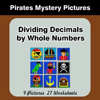 Dividing Decimals by Whole Numbers - Math Mystery Pictures - Pirates