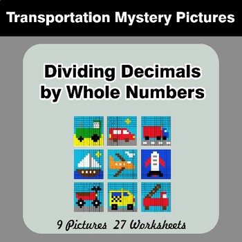 Dividing Decimals by Whole Numbers - Math Mystery Pictures - Transportation
