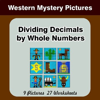 Dividing Decimals by Whole Numbers - Math Mystery Pictures - Western