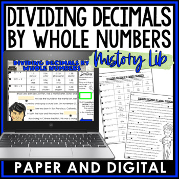Dividing Decimals by Whole Numbers Mistory Lib Activity