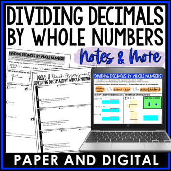 Dividing Decimals by Whole Numbers Notes and Such 6.NS.B.3