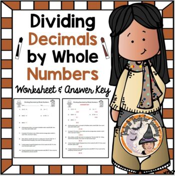 Dividing Decimals by Whole Numbers Practice and Word Problems Worksheet