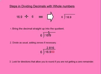 Dividing Decimals by Whole Numbers Smartboard Lesson Divide Decimal