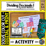 Dividing Decimals by Whole Numbers Solve, Color, Cut
