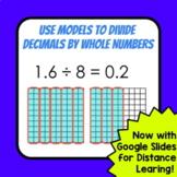 Dividing Decimals by Whole Numbers Using Models - GOOGLE SLIDES & PDF