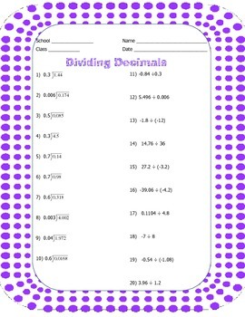 Dividing Decimals for 7th Graders