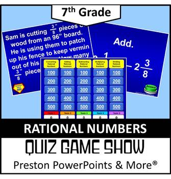 (7th) Quiz Show Game Rational Numbers in a PowerPoint Presentation