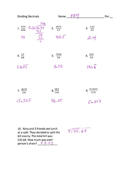 Dividing Decimals includes space for work and equations